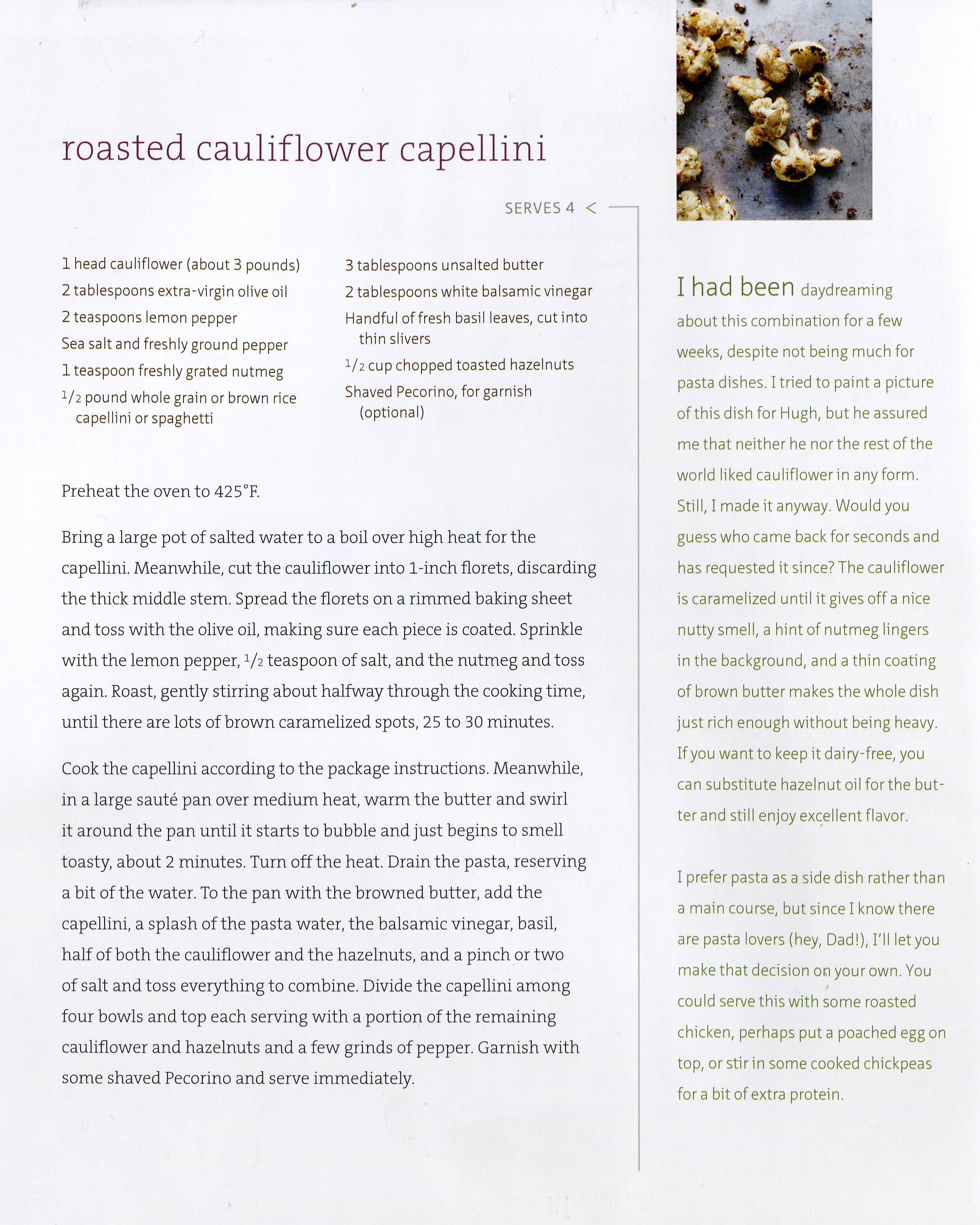 roasted cauliflower and capellini from the sprouted kitchen